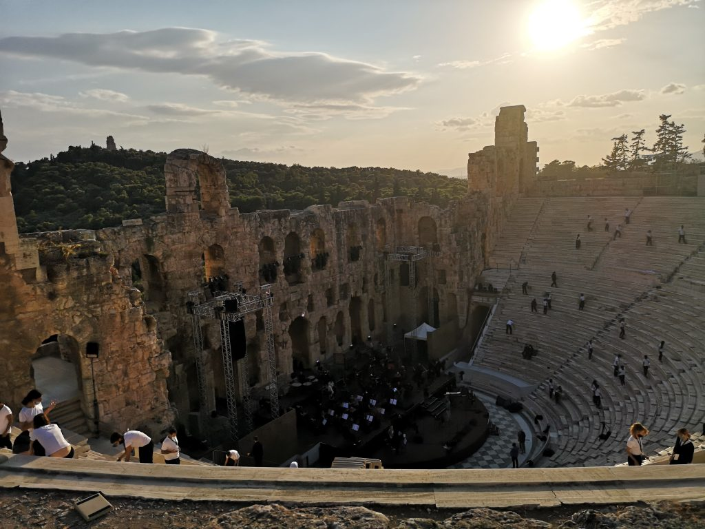 Odeon of Herodes Atticus at sunset
