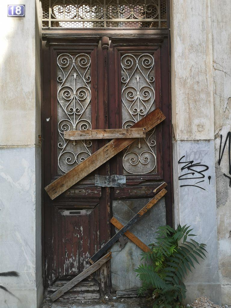 Broken door in Athens