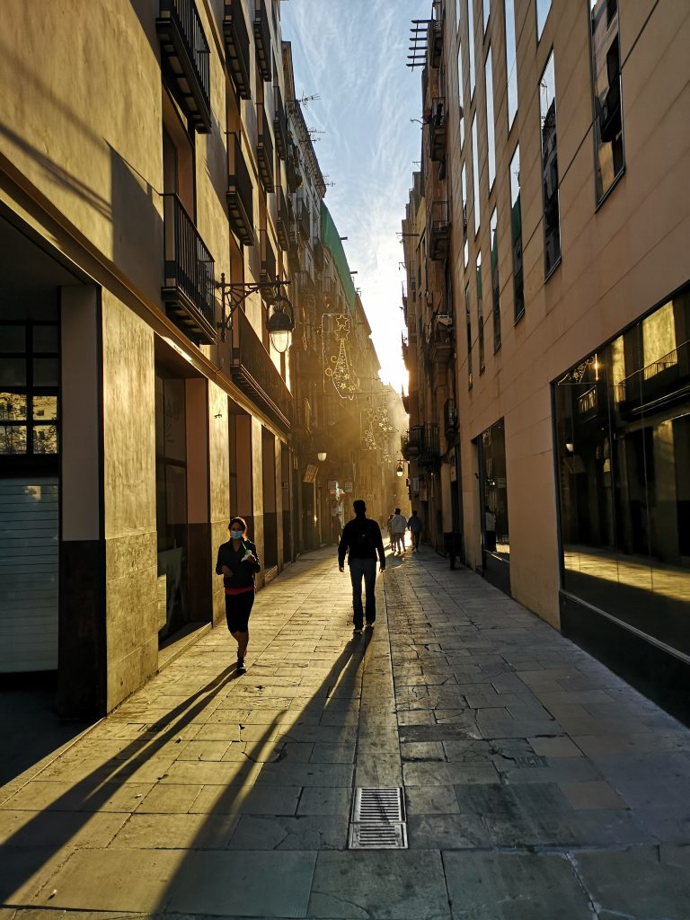 Carrer dels Boters, Gothic Quarter at sunset 2020