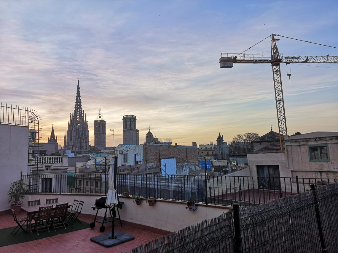Sunrise View from terrace in Barcelona's Gothic Quarter